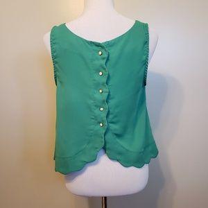 Double Zero | green scalloped hem tank top blouse